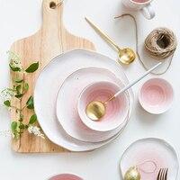European Real Gold Stripe Spot Ceramic Dinner Plate Bowl 6 Inch 8 Inch 8 6 Inch