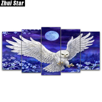 Zhui Star 5D DIY Full Square Diamond Painting Moonlight Owl Multi Picture Combination Embroidery Cross Stitch