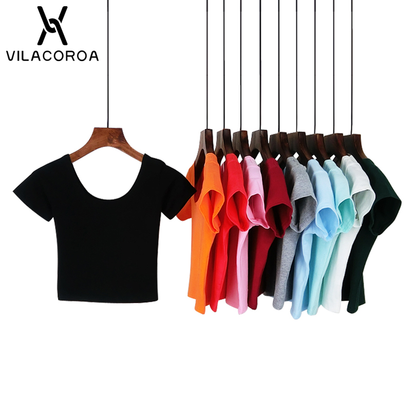 VILACOROA Best Sell Harajuku U Neck Women's T-shirt Sexy Black Short Sleeve Crop Top Stretch Women's Shirt Tee Tops Ropa Mujer
