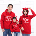 Family matching clothes father mother and son  2016 autumn  and winter Long sleeve Hooded sweater with two pockets  Love hearts