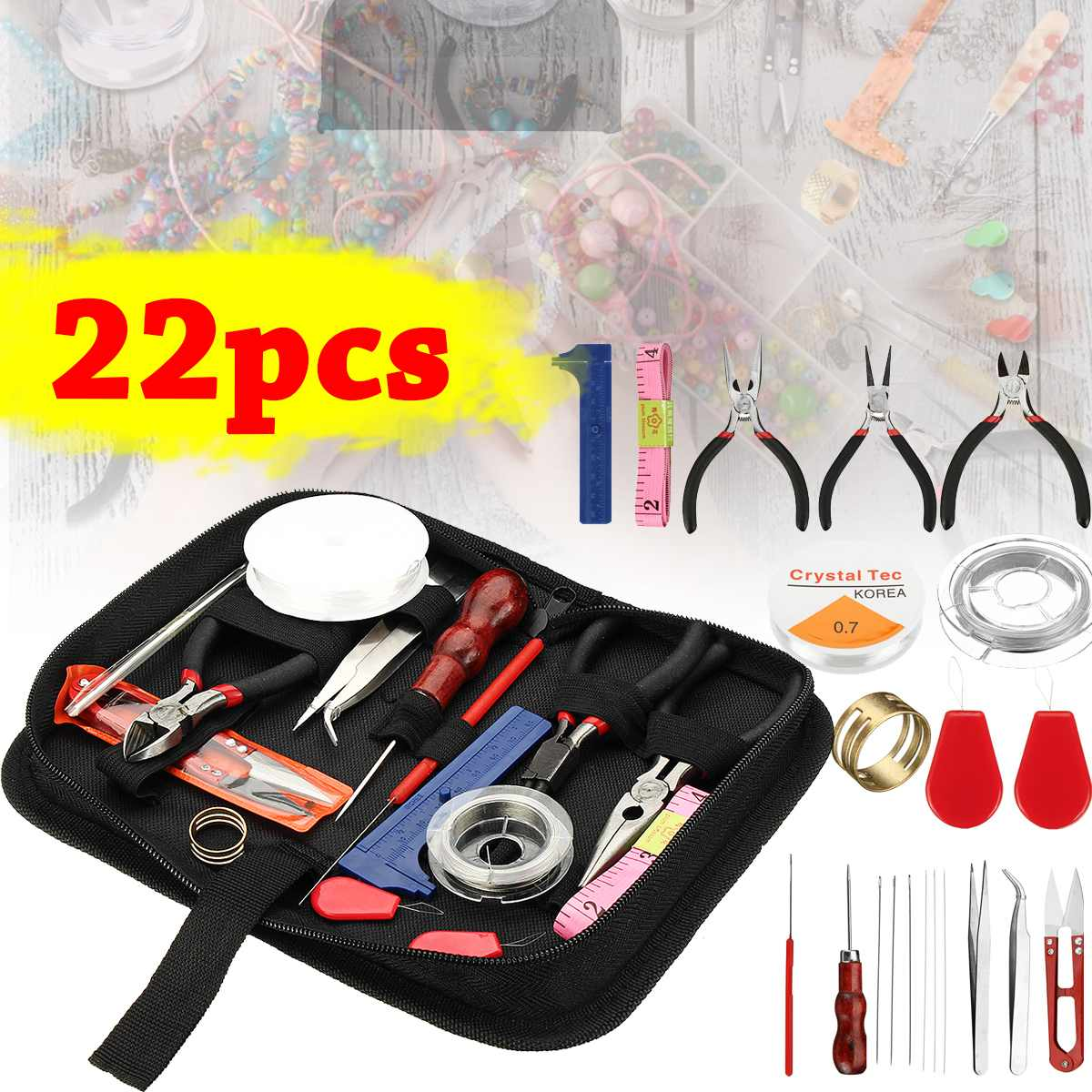 Beading-Wire-Set Jewelry Pliers Jewelry-Making-Tools-Kit Diy-Craft 22pc/Set