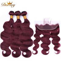 99J Human Hair Bundles With Frontal Closure 13*4 Remy Red Color Brazilian Body Wave Human Hair Weave Bundles With Closure