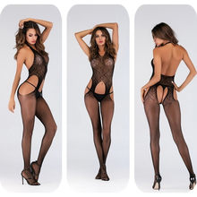 Women's Black Body Stocking Fishnet Sheer Mesh Bodysuit Sexy Leotard Open Crotch Hot Stocking On The Body(China)