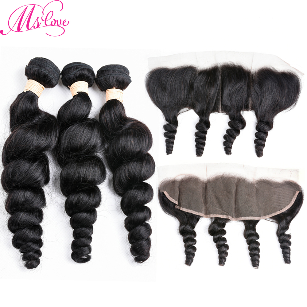 Ms Love Indian Hair Loose Wave Bundles With 13*4 Lace Frontal Closure Non Remy Human Hair Bundles With Frontal