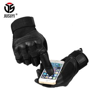 Image 3 - Touch Screen Military Tactical Rubber Hard Knuckle Full Finger Gloves Army Paintball Shooting Airsoft Bicycle PU Leather for Men