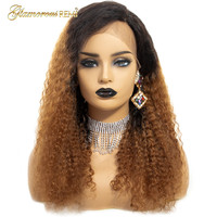 Brazilian Hair 1b 30 Ombre Color Kinky Curly Wigs Human Hair Lace Frontal Wigs Glueless Lace Front Wigs For Women Remy Hair Wig