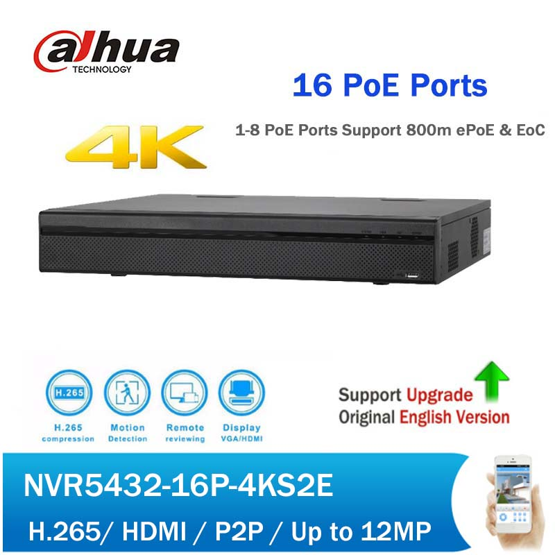 Dahua NVR5432-16P-4KS2E 32Ch 1.5U 16PoE 4K&H.265 Pro Network Video Recorder Support 800m ePoE & EoC CCTV NVR
