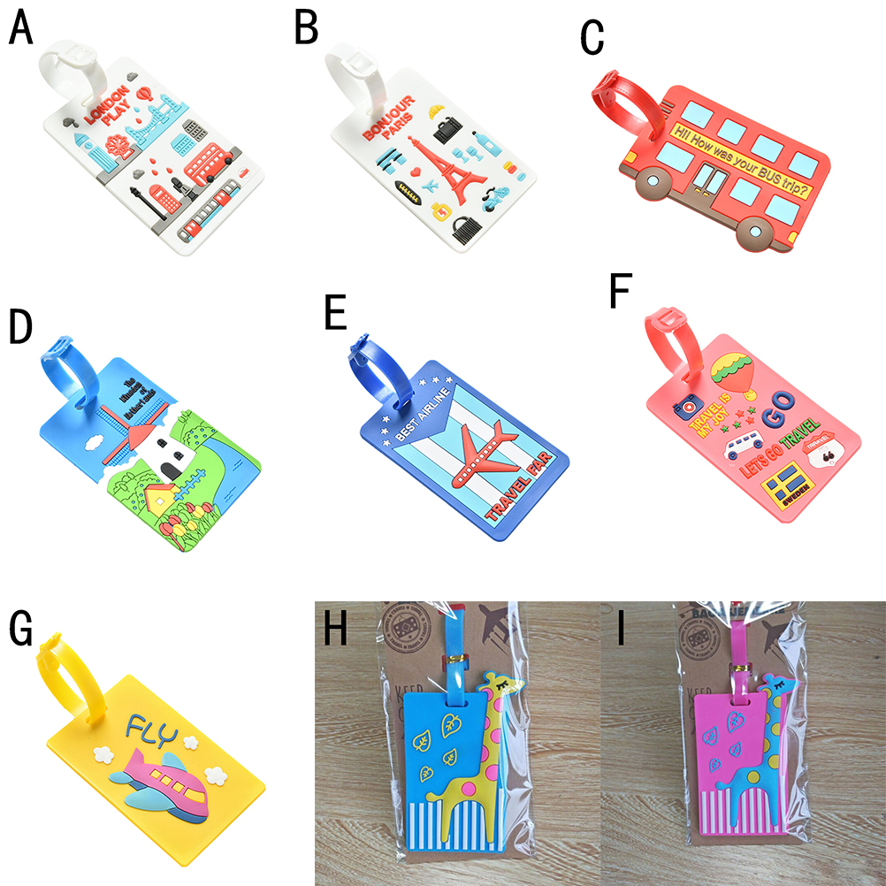 Kawaii Suitcase Luggage Tag Cartoon ID Address Holder Baggage Label Silica Ge Identifier Travel Accessories Travel Luggage Tags coneed charming nice new suitcase luggage tags id address holder silicone identifier label luggage tags travel access y20x