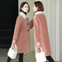 Пальто из натурального меха, зимняя куртка для женщин, Воротник из меха норки, овечья шерсть, шерстяное пальто, женская Корейская розовая ку