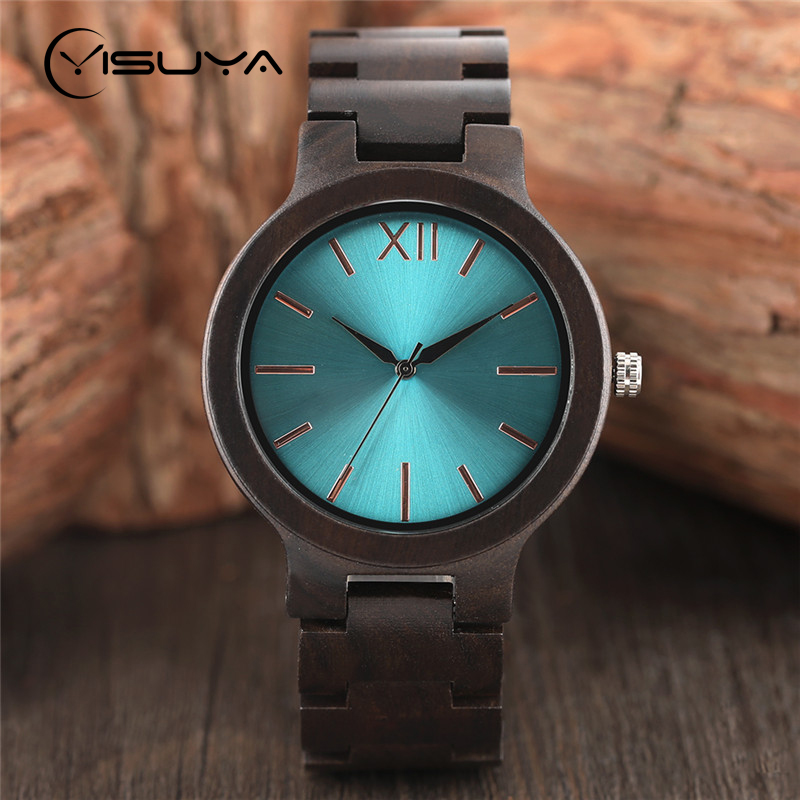 Men's Creative Ebony Wooden Watch Unique Aquamarine Gold Dial Clock Luxury Black Full Bamboo Wood Band Analog Quartz Wristwatch unique hollow dial men women natural wood watch with full wooden bamboo bangle quartz wristwatch novel handmade clock gifts item