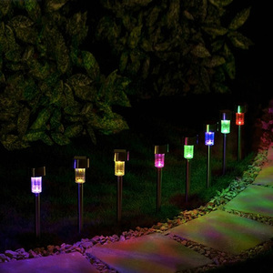 8 Pieces/Set Christmas Gradual Color Changing LED Lawn Light Lamp Lampada LED Solar Lamps with Stake for Outdoor Pathway Garden(China)