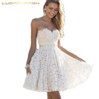Luoanyfash 2017 Women Summer Dress Sexy White Lace Celebrity Evening Party Dress Prom Club Vestidos Gown Ball Dresses female