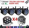 4 шт./7X12 W led Par свет RGBW 4in1 плоским пар led dmx512 освещение сцены профессиональный ди-джей оборудование 100% новый