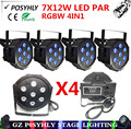 4pcs / 7X12W led Par lights RGBW 4in1 flat par led dmx512 stage lights professional dj equipment 100% new