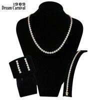 DreamCarnival Новое поступление 1989 года Африканский нигерийский Ювелирные наборы для женщин Свадебные украшения Белый CZ родиевый золотой цвет