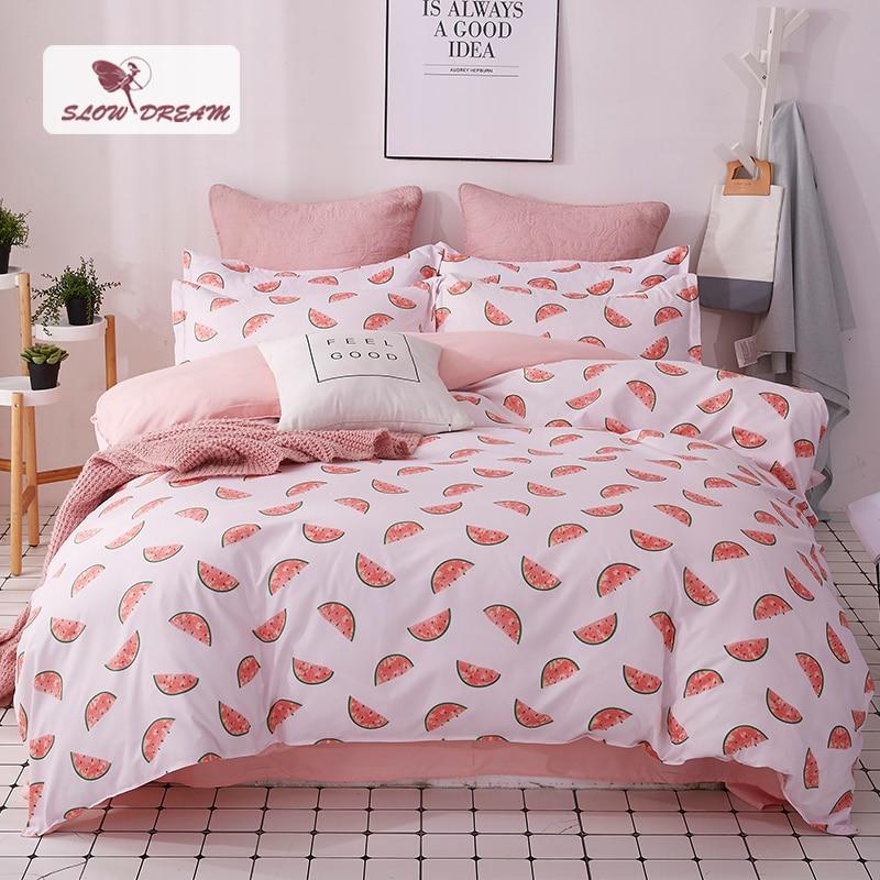 SlowDream Watermelon Bedspread Cartoon Bedding Set Double Duvet Cover Bed Linens Set Euro Bed Sheet Single Nordic Bed 150/200