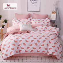 SlowDream Watermelon Bedspread Cartoon Bedding Set Double Duvet Cover Bed Linens Set Euro Bed Sheet Single Nordic Bed 150/200 [available with 10 11] linens euro 2565821