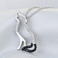 Fijne Sieraden 925 Sterling Zilveren Ketting Mode-sieraden Zwart Wit Zirconia Wolf hanger ketting Sieraden 028