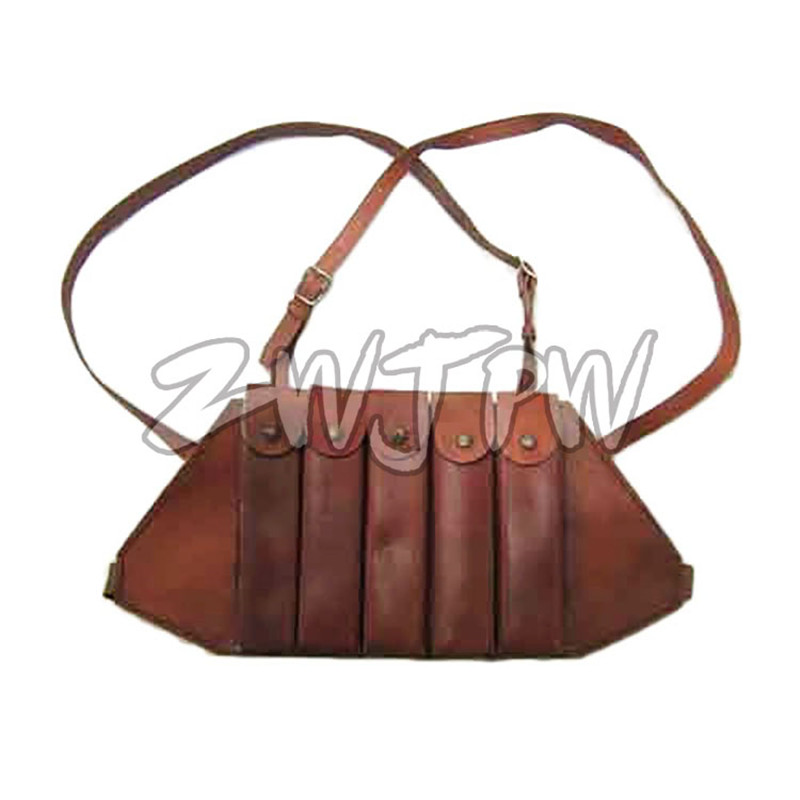 WW2 WWII China Russia AK-47 Leather Magazine Pouch 5 Clips Thompson Chest Rig US/104111 ww2 china army leather hunting submachine gun 10 clips folder pouch bag package cn 104125