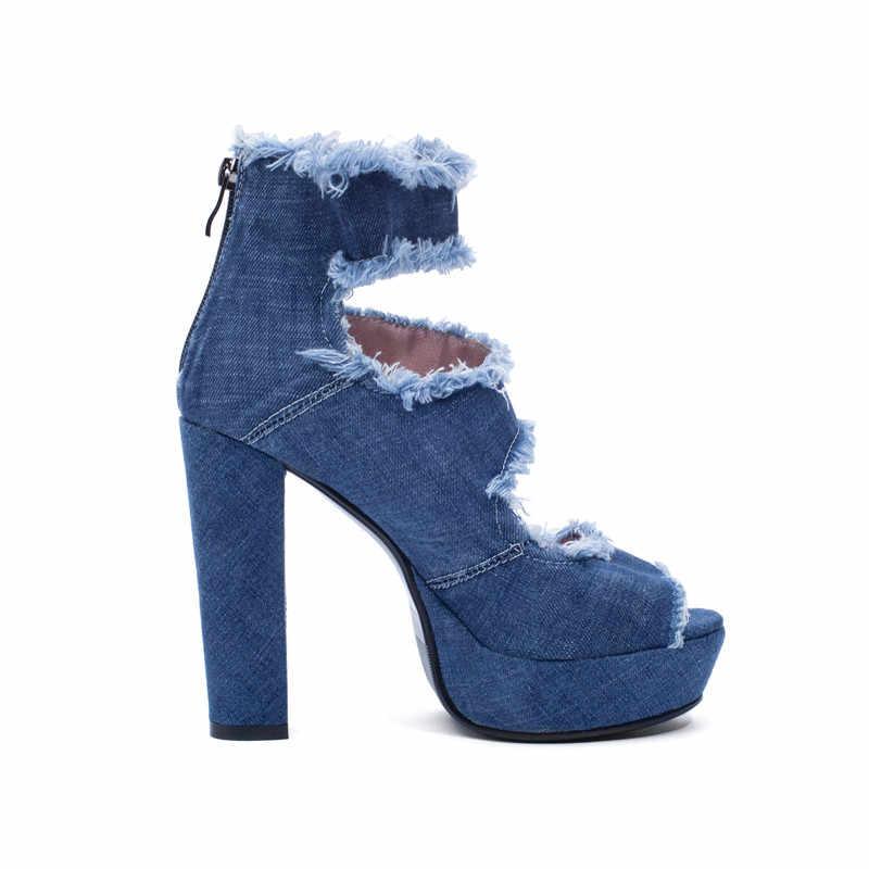 YMECHIC 2019 Del Denim di Estate Della Piattaforma Nappa Scarpe Da Donna Tacchi Alti Alla Caviglia di Boot Sandali Gladiatore Delle Donne Blu Nero Sandalo di Roma 43