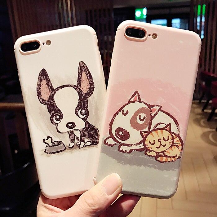 bilder für Super nette Cartoon Tasche katze hund Design mit ring weichen tpu telefon Fall Für Apple iPhone 7 6 6 s plus Zurück Abdeckung