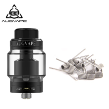 купить Augvape Merlin MTL RTA Atomizer With Clapton 10pcs Dual Core Fused Coils 5ml 22MM Top filling MTL Drip Tip Vape Tank RTA в интернет-магазине