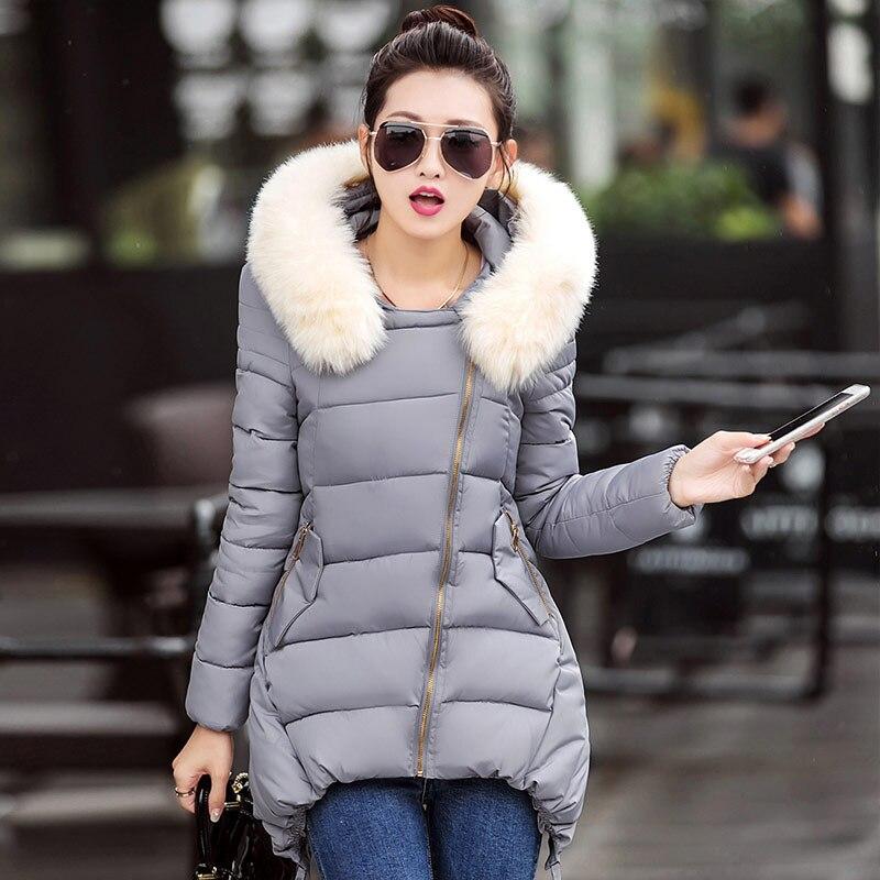 Kış Kadın Parka Moda Uzun Kürk Kapüşonlu Kalın Ince Kadınlar Aşağı ceket 2016 Artı Boyutu Abrigos Mujer Yeni Kış Kadın Mont S23557