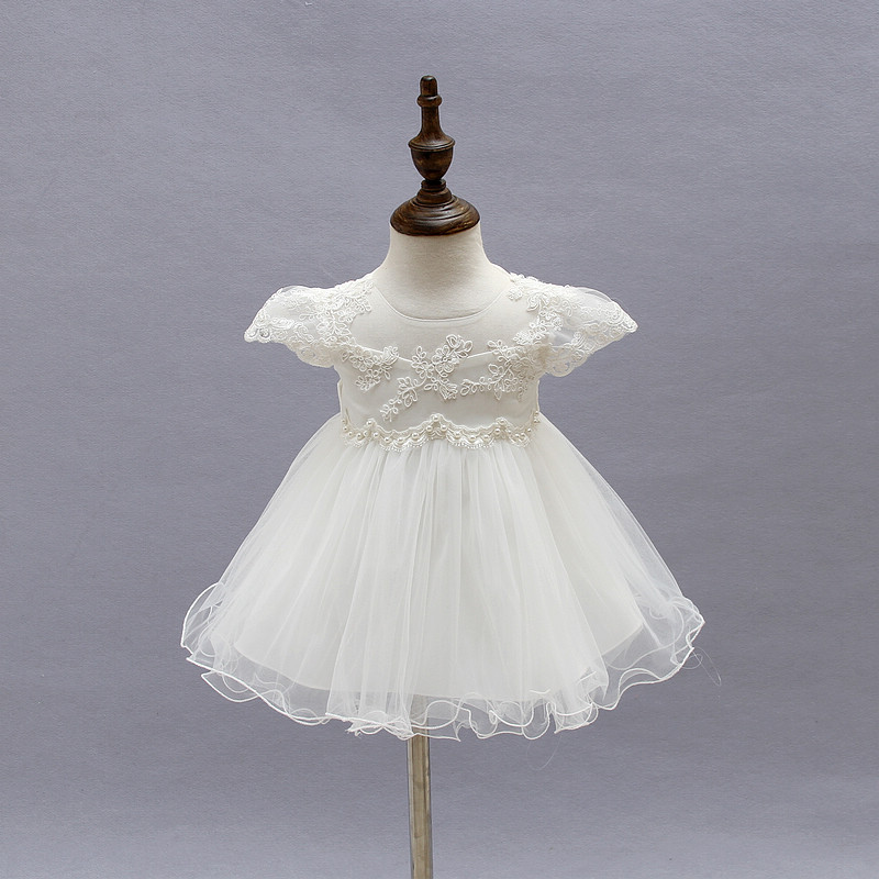 2018 baby Christening Gown White Tulle Infant Princess Baptism Dress Toddler Baby Girls Party Wedding Dress tutu dress exclaim колье серебряное с круглой подвеской