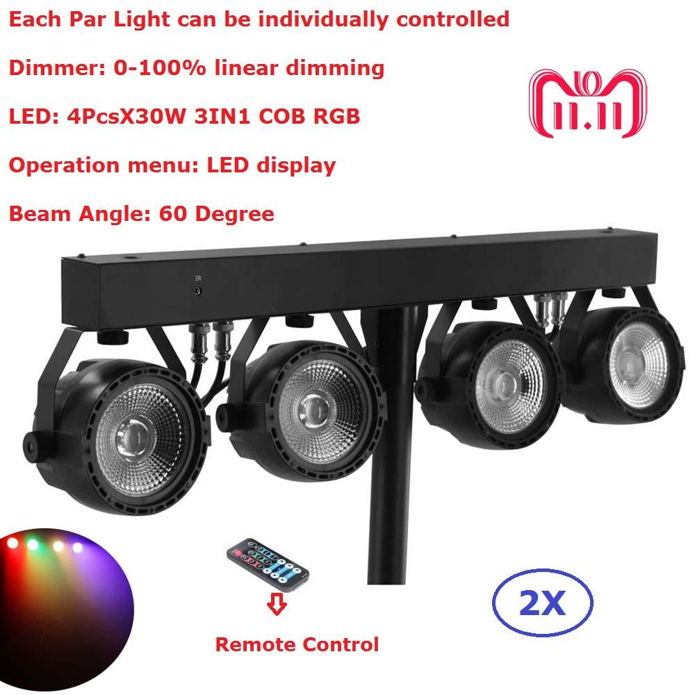 где купить 2Pack Flat Par Kits High Power 4PcsX30W RGB 3IN1 Led Stage Lights With Light Stand Bag Package Set DJ Disco Lighting Equipments дешево