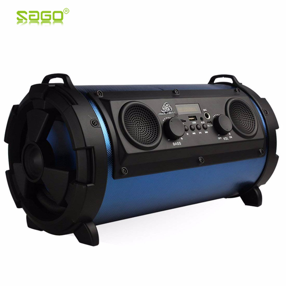 Sago 15W LCD Portable Wireless Bluetooth Speaker Super Bass Subwoofer Stereo Music Player FM Transmitter Support AUX TF Card free shipping mink fur kintted cap fur cap fur hat wholesale