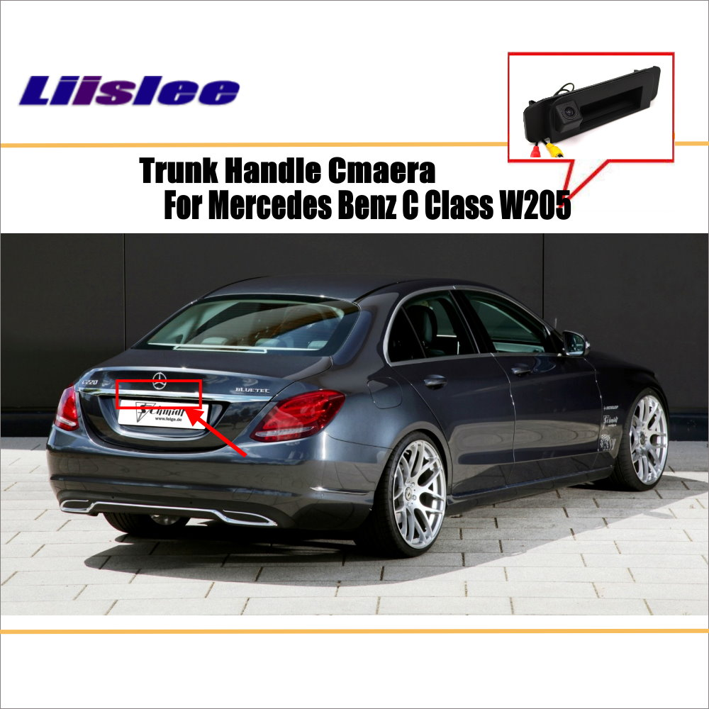 Car Rear View Camera For Mercedes Benz C Class W205 / Reverse Camera / HD CCD RCA NTST PAL / Trunk Handle OEM