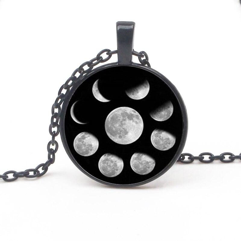 Fashion Shelf Wiccan Pendant Necklace Moon Cycle Nebula Pagan Glass Cabochon Chain Jewelry Woman Sweater Accessorie Kid