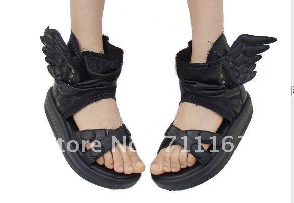 2a0a6ad74a1 New Arrives Womens Girls Cool Wings High Fashion Platform Soft PU leather  Comfortable Sandals Black   White Free Shpping New
