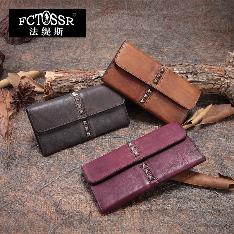 2018 Handmade Cowhide Envelope Bag Lock Rivets Large Capacity Vintage Day Clutch Genuine Leather Women Wallet trendy women s clutch with envelope and twist lock design