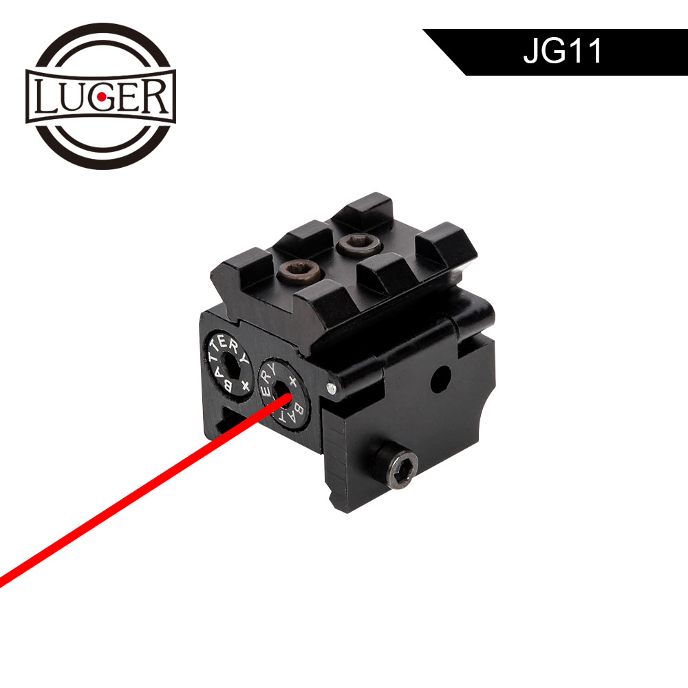 LUGER Red Dot Laser Sight With 20mm Picatinny Rail Mount Tactical Mini Adjustable Compact For Air Gun Rifle Hunting Accessory