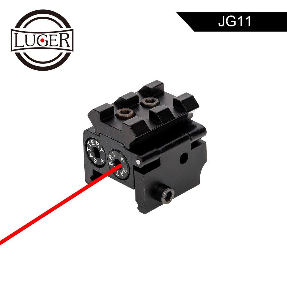 LUGER Tático Ajustável Mini Compact Red Dot Laser Sight Com 20mm Picatinny Rail Mount Para Pistola De Ar Rifle de Caça acessório