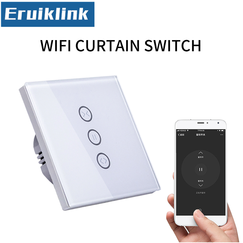EU/UK Standard APP Control Curtain Switch Glass Panel WIFI Touch Curtain Switch for Electric Curtain,Work with Google home/Alexa ewelink dooya electric curtain system curtain motor dt52e 45w remote control motorized aluminium curtain rail tracks 1m 6m