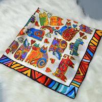 Cats Printed Silk Square Scarf Wraps Women 100% Soft Satin Silk Scarfs Shawl Hijab Foulard Hand Rolled Edge