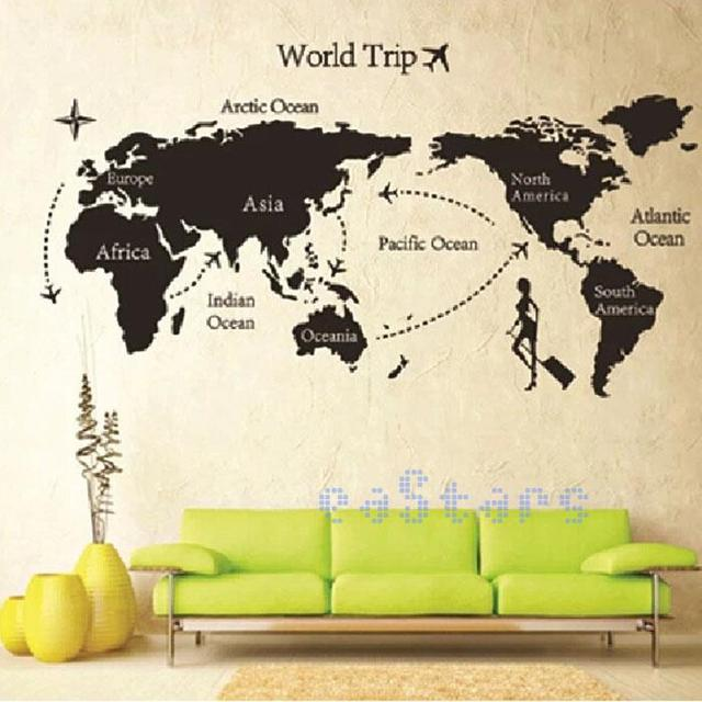 Diy travel world map print removable vinyl wall sticker room decor decal paper sticker 140