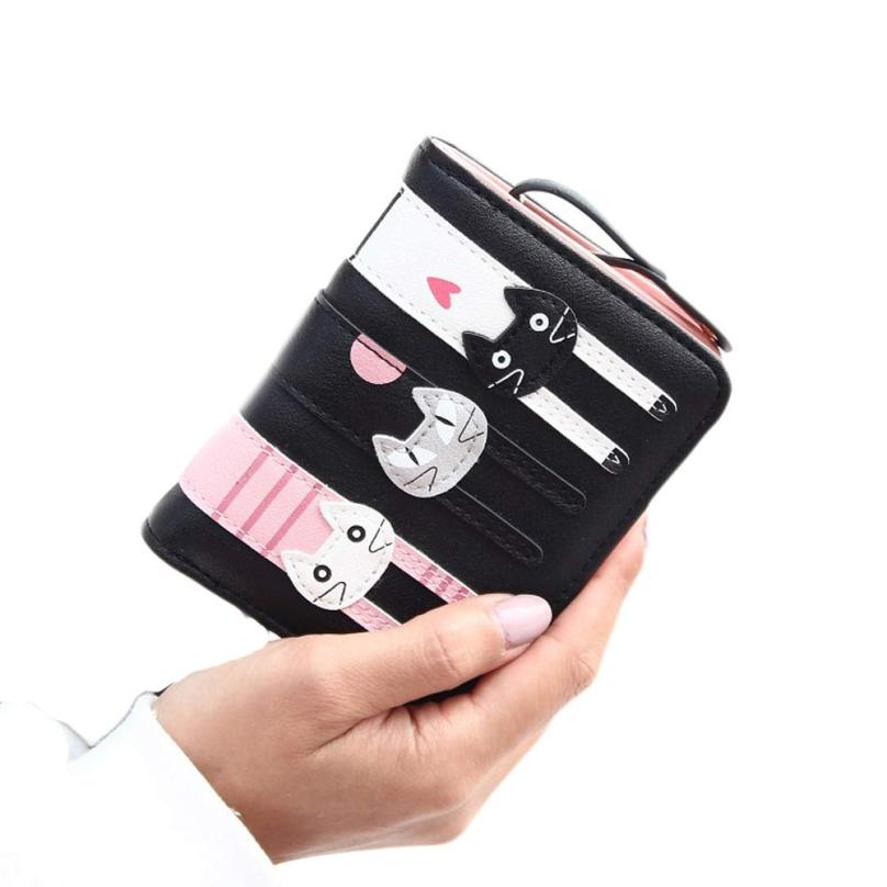 Discount!! Women Mini Lovely Bifold Leather Wallet Card Holder Purse portmonee ladies girls Female carteiras feminina clutch bag women purse solid color mini grind magic bifold leather wallet card holder clutch women handbag portefeuille femme dropshipping