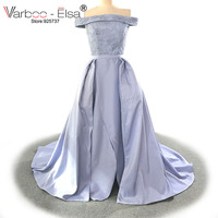VARBOO_ELSA Sexy Boat Neck Special Occasion Gown 2018 Custom Beading Evening Dress Light Purple Satin Party Dress robe de soiree