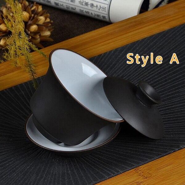 Top quality Gaiwan Chinese zisha tea set purple clay gaiwan 120ml lid bowl saucer tea brew cup yixing teapot for service gift