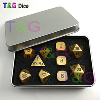Gold copper Color Metal Alloy Dice d4 3xd6 d8 d10 d12 2xd20 with Iron Box for Family Game Gift 10pcs/set