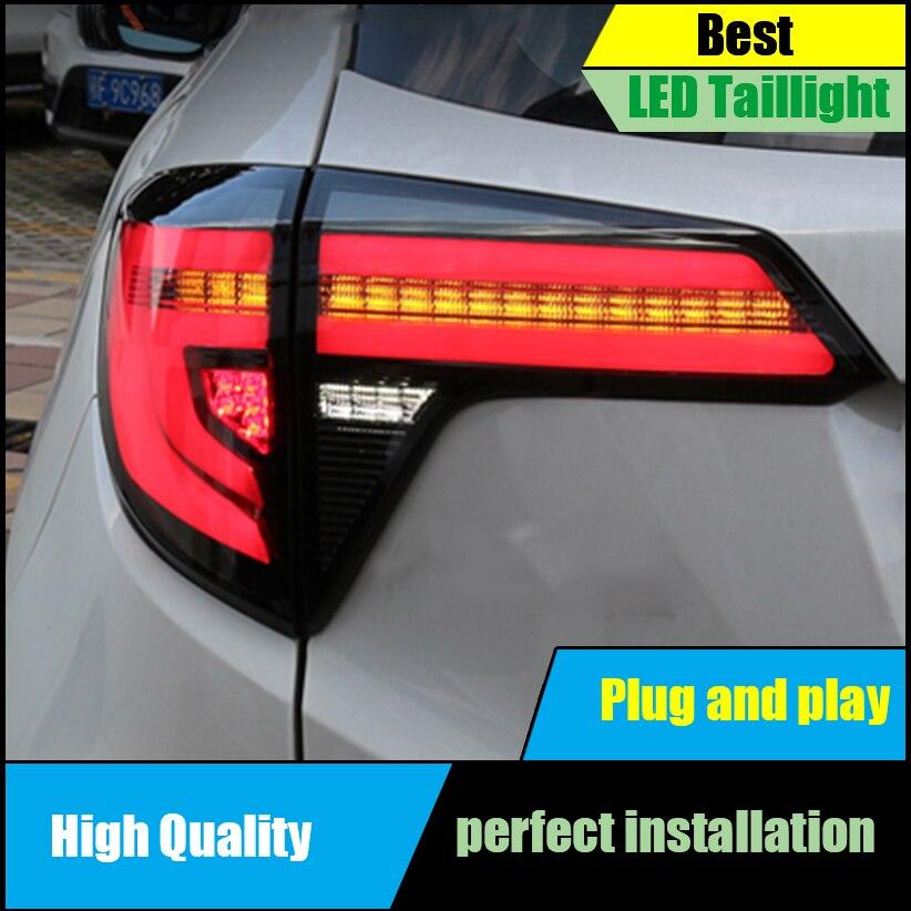 Car Styling For Honda HRV HR-V Vezel 2015 2016 2017 Dynamic Turn Signal Taillight LED Tail Rear Lamp Drive+Brake+Reversing Light abs chrome glass switch sequins for 2015 2016 hrv vezel car styling accessories