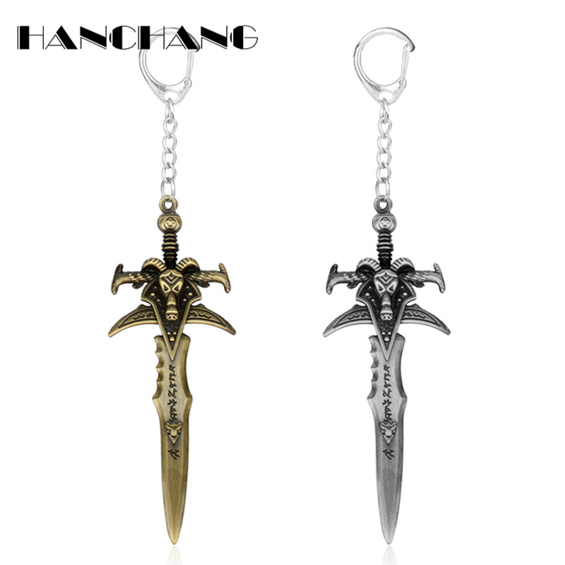 Game Jewelry World of War craft Goat Sword Keychain Alloy Key Holder For Men Cosplay Keyrings Key Chains chaveiro