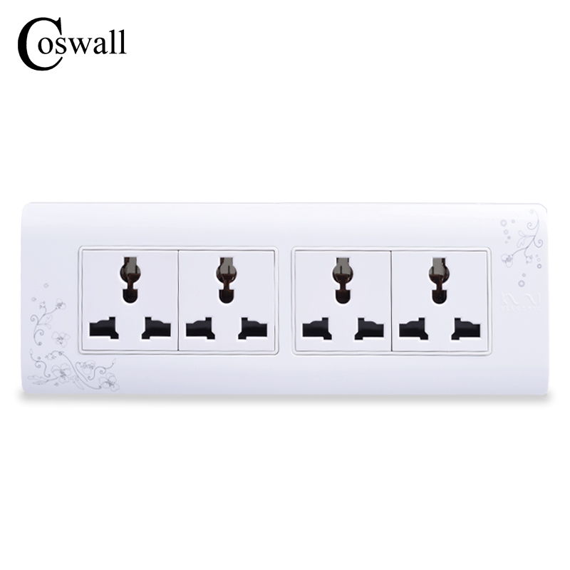 COSWALL Universal Plug Brief Style Wall Electrical Socket Multi-function 12 Hole Power Outlet With Child Protective Door
