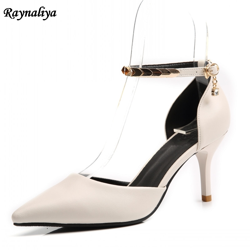 Genuine Leather Thin High Heel Pointed Toe Ankle Strap Woman Sandals Fashion Party Summer Shoes Woman Black Sandal XZL-B0050 pu pointed toe flats with eyelet strap