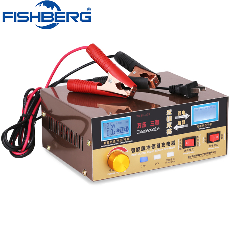 110V-250V 400AH Automatic Car Scooter Charger 12V/24V 15A 20A For Lead Acid  Lithium Battery Charger Pulse Repair Charger