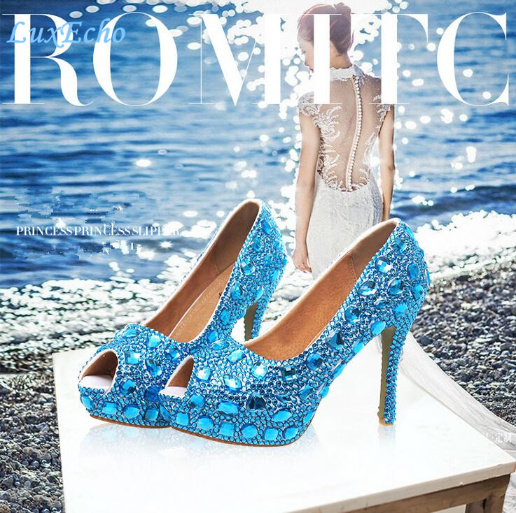 ФОТО New arrival Open Toe Sea blue Rhinestone wedding shoes High shoes woman Bridal Fashion Pumps Peep Toe Pig leather Lining Pumps
