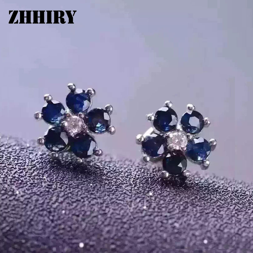 ZHHIRY Natural Sapphire Stone Earring Genuine Solid 925 Sterling Silver Real Gems Earrings Women Fine Jewelry термокружка gems 470ml black sapphire 1907 34